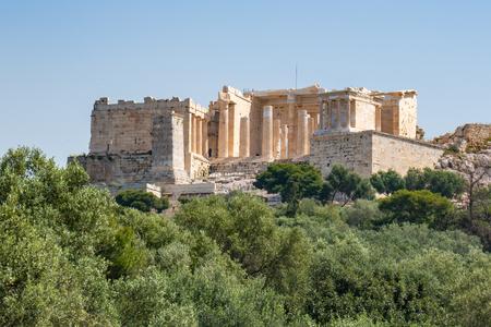 Parthenon temple in Acropolis at Athens, center on Athens, Greece