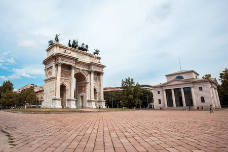 Arch of Peace, or Arco della Pace, city gate in the centre of the Old Town of Milan, Sempione park