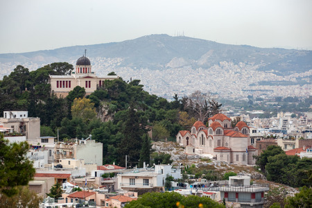 Church Agia Marina and National Observatory on the Hill of Nymphis in Athens, Greece, travel Banque d'images
