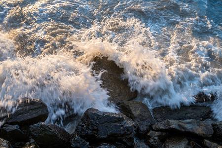 sea, waves crashing against the rocks, Black Sea, Georgia Imagens