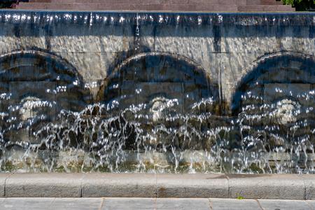 Fountain in front of statue Rustaveli, Tbilisi, Georgia. Travel.