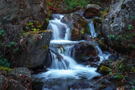 Scenic waterfall view in Dariali gorge in autumn, Gveleti waterfall, Georgia, Caucasus