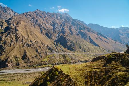 Georgian Military Road , valley of the Terek in The Caucasus mountains. Travel.