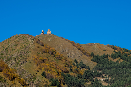 Gergeti Trinity Church in the mountains of the Caucasus, Geogria. Religion