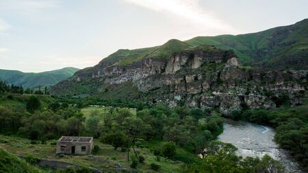 View of Vardzia caves. Vardzia is a cave monastery site in southern Georgia, excavated from the slopes of the Erusheti Mountain on the left bank of the Kura River. Travel Imagens
