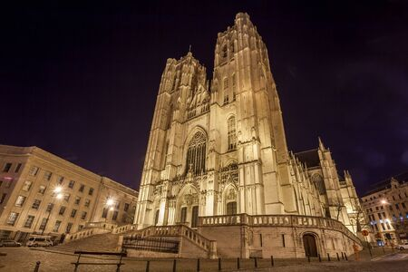 St. Michael and St. Gudula Cathedral at night - Brussels, Belgium. Travel.