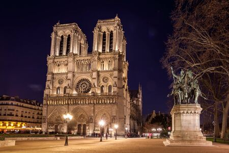 Notre Dame Cathedral in Paris at night, France. Travel.