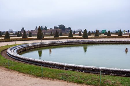Beautiful Garden in a Famous Palace of Versailles (Chateau de Versailles), France. Travel.