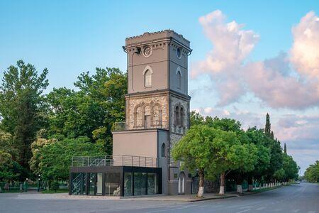 Old clock tower in Poti, Niko Nikoladze tower. Georgia. Travel.