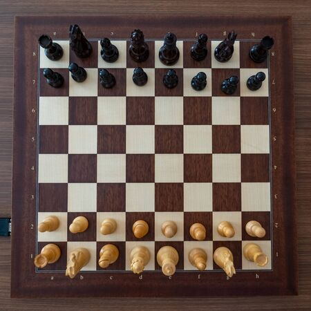 Top view on chess pieces on the board Before the chess tournament. Sport. Stock fotó