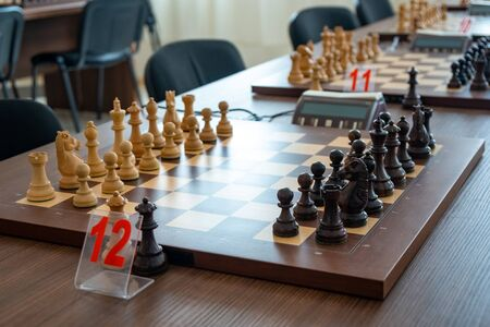 chess pieces on the board Before the chess tournament. Sport.