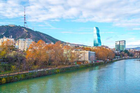 River Mtkvari (Kura) and view of Tbilisi from the Metekhi bridge. Travel.