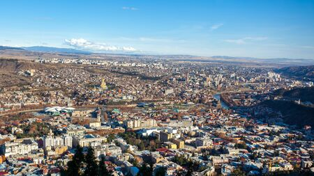 Areal view of Tbilisi City. Beautiful Place to travel. Georgia. Imagens