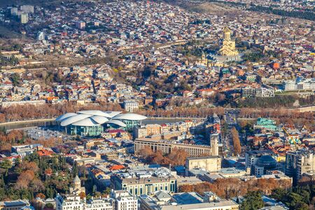 Areal view of Tbilisi City. Beautiful Place to travel. Georgia. 版權商用圖片