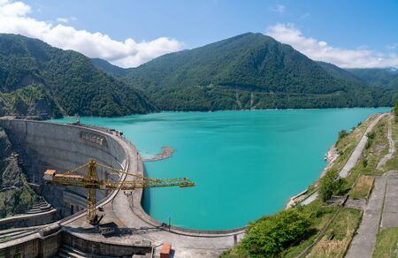 Wide view of The Enguri hydroelectric power station HES. Georgia.