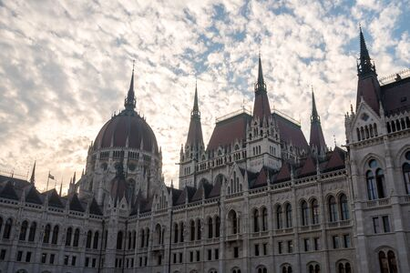 Beautiful view of Budapest parliament against the sky, Hungary. Travel.