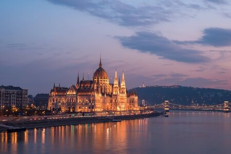 Aerial view of Budapest parliament and the Danube river at sunset, Hungary. Travel.