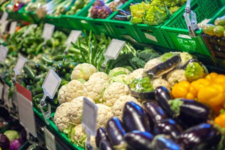 big choice of fresh fruits and vegetables on market counter. Food.