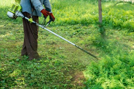 The gardener cutting grass by lawn mower, lawn care. Nature