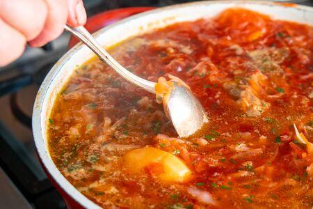 A bowl of traditional red Ukrainian borshch (borsh), healthy food.