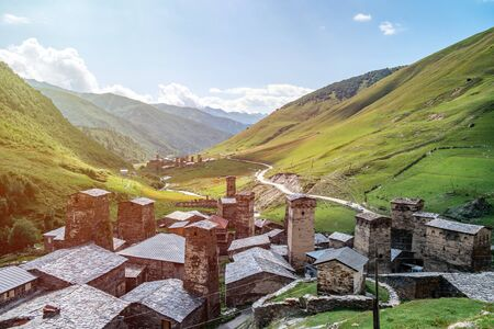 View of the Ushguli village at the foot of Mt. Shkhara. Picturesque and gorgeous scene. Rock towers and old houses in Ushguli, Georgia. Travel. Reklamní fotografie