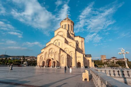 Holy Trinity Cathedral of Tbilisi (Sameba) - the main cathedral of the Georgian Orthodox Church. Georgia. Religious. Stok Fotoğraf