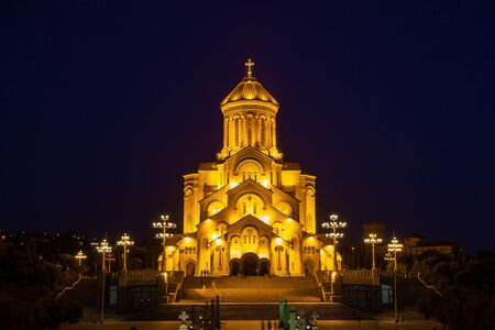 Night view of Holy Trinity Cathedral of Tbilisi (Sameba) - the main cathedral of the Georgian Orthodox Church. Georgia. Religious. Stok Fotoğraf