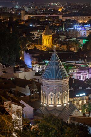 Top view of the Georgian capital Tbilisi at night. Travel. Reklamní fotografie