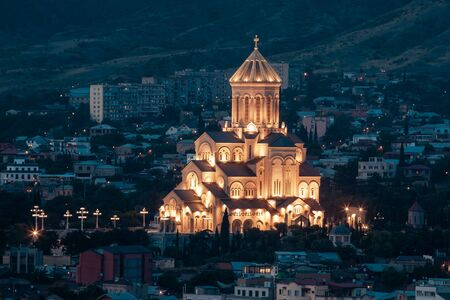 Holy Trinity Cathedral of Tbilisi (Sameba) in the evening - the main cathedral of the Georgian Orthodox Church. Georgia. Religious.