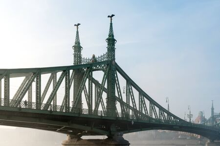 The Liberty Bridge in Budapest in Hungary, it connects Buda and Pest cities  across the  Danube river. shortest bridge in Budapest city. Travel.