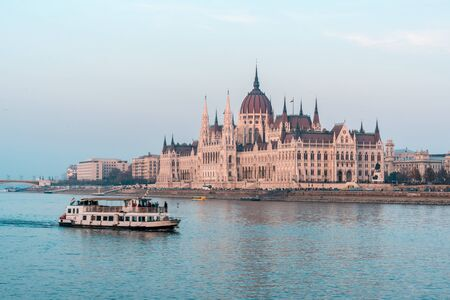 Hungarian parliament in Budapest on the Danube river. Travel.