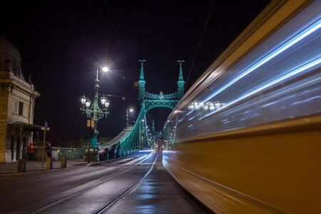 Night view of Liberty Bridge, capital of Hungary. Travel. Reklamní fotografie