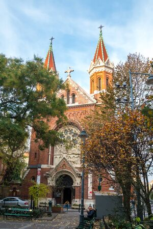 Beautiful brick church in Budapest, Hungary. Religion. Travel. Reklamní fotografie