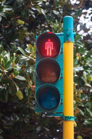 Traffic light with red light on. Traffic sighs. Transportation. 스톡 콘텐츠