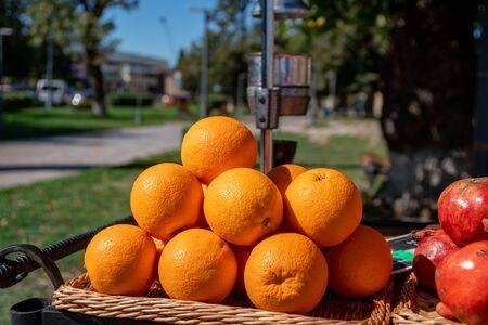Pomegranate and orange juice stand in Telavi, Georgia Stock Photo