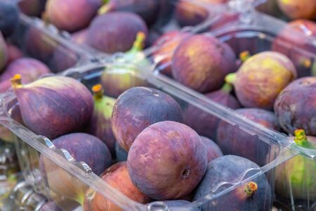 fresh figs for sale at a market. Fruits. Stock Photo