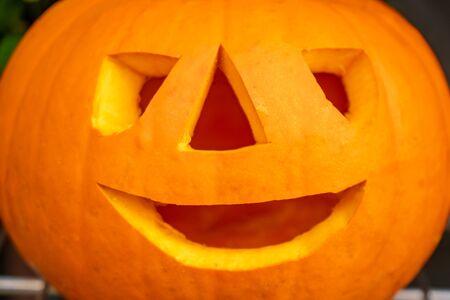 pumpkin for Halloween on a market stall. Celebration.