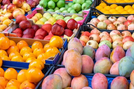 Various fruit in a fruit market. Healty food. Banco de Imagens