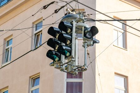 Traffic light with green color. Transportation, Vienna, Austria.