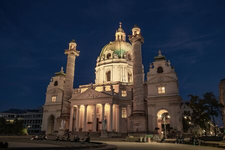 Karlskirche or St. Charless Church - one of famous churches in Vienna at night. Religion. Banco de Imagens
