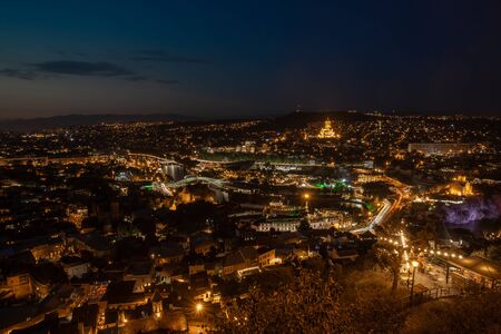 Night view of old town of Tbilisi. Tiflis is the largest city of Georgia, lying on the banks of Mtkvari River. Travel.