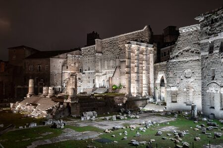 Forum of Augustus at night in Rome, Italy. History.