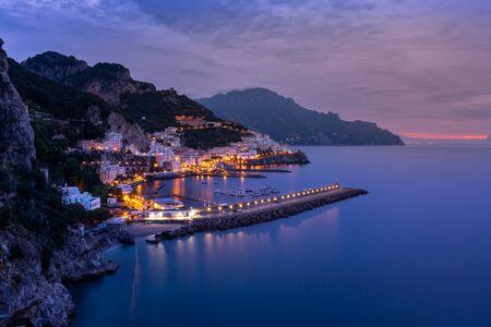 Night view of Amalfi cityscape on coast of mediterranean sea, Italy. Travel. Banco de Imagens
