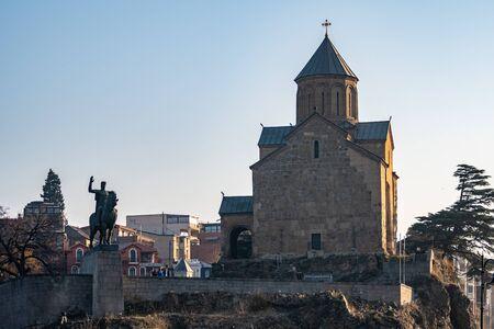 Metekhi Church and monument of King Vakhtang I Gorgasali, Tbilisi. Travel.