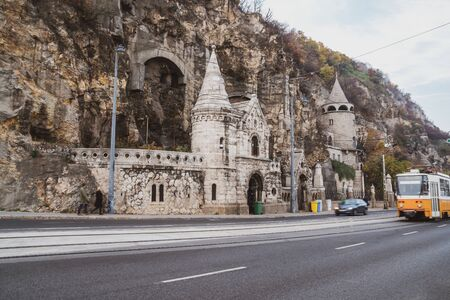 View of the beautiful old stone church at Gellert Hill Cave in Budapest, Hungary. Rock Chapel in Budapest.