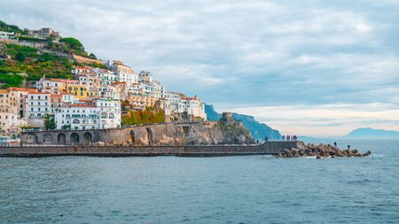 Amalfi cityscape on coast of mediterranean sea in the morning, Italy. Travel. Banco de Imagens