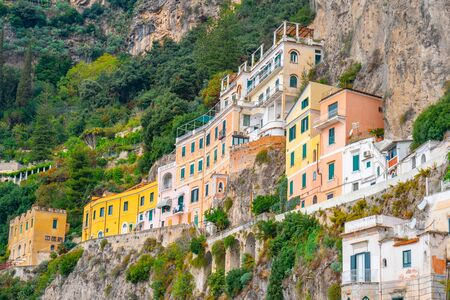 Beautiful colorful houses in Amalfi. Amalfi coast. Italy.