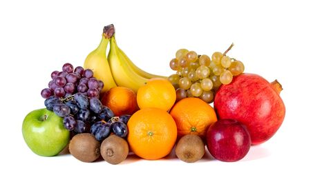 Sortiment oder tropische Früchte auf weißem Hintergrund. Gesundes Essen. Standard-Bild