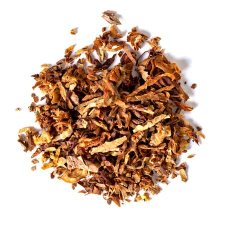 dried smoking tobacco Isolated on a white background. top view.
