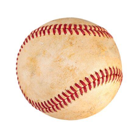 abgenutzter Baseball isoliert auf weißem Hintergrund, Mannschaftssport. Objekt.